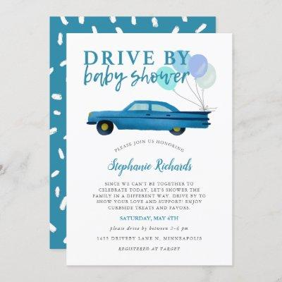 Drive By Baby Shower Blue Car Parade Invitation