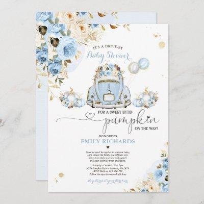 Drive By Baby Shower Blue Floral Roses Pumpkin Invitation