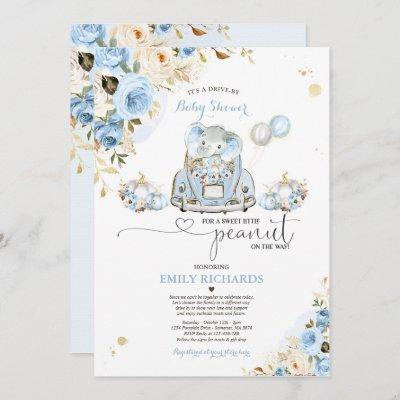 Drive By Baby Shower Blue Roses Elephant Pumpkin Invitation