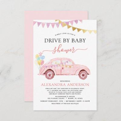 Drive By Baby Shower Blush Pink Gold Foil Invitation