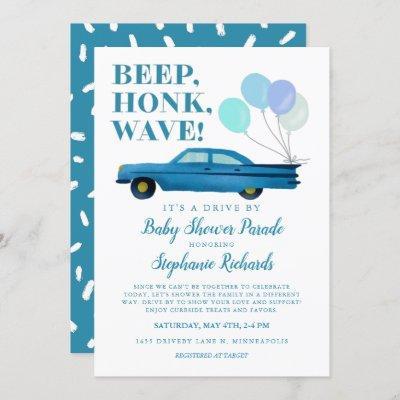 Drive By Baby Shower Boy Blue Vintage Car Invitation