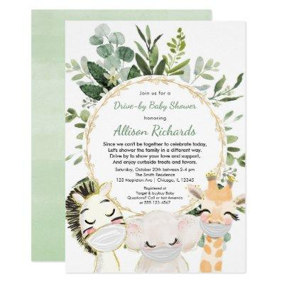 Drive-by baby shower cute animals greenery gold invitation