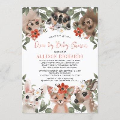 Drive by baby shower girl woodland forest animals invitation