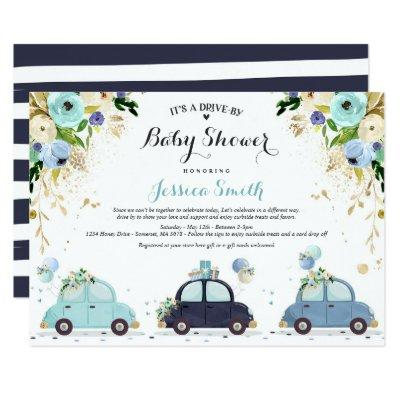 Drive By Baby Shower Invitation Blue Floral Shower