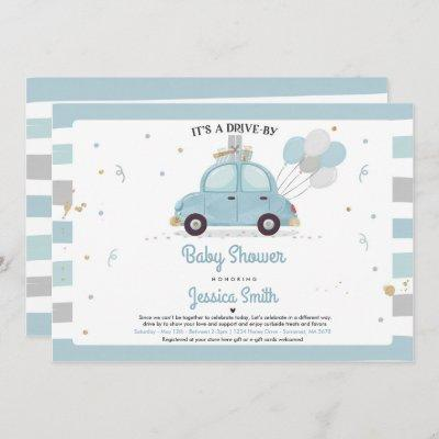 Drive By Baby Shower Invitation Boy Baby Shower