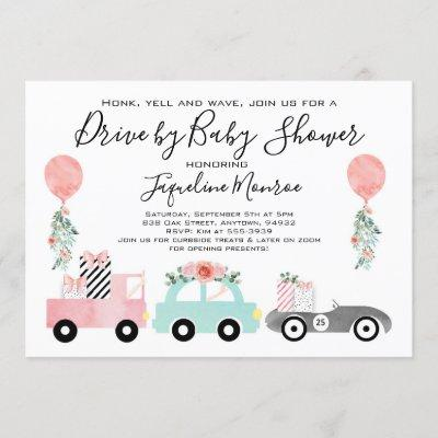 Drive by baby shower invitation Girl baby shower