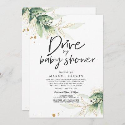Drive By Baby Shower Invitation Greenery Shower