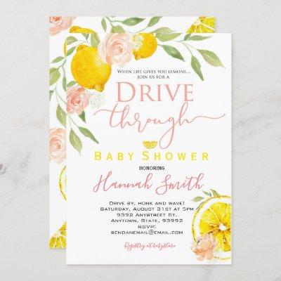 Drive by baby shower invitation Lemon girl flowers