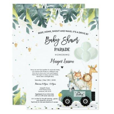 Drive By Baby Shower Invitation Safari Baby Shower