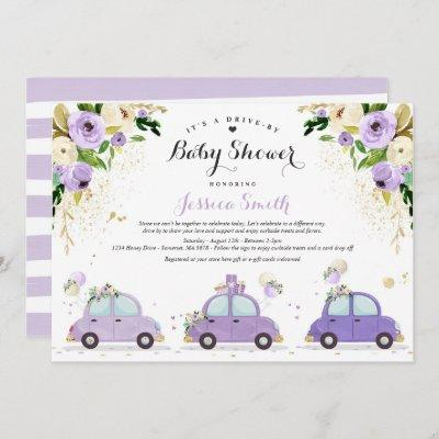 Drive By Baby Shower Lilac Gold Floral Baby Shower Invitation