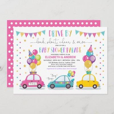 Drive By Baby Shower Party Parade Quarantine Girl Invitation