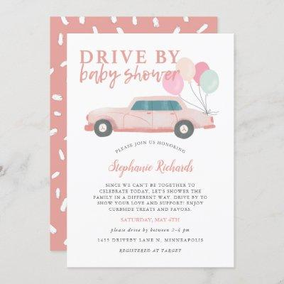 Drive By Baby Shower Pink Car Parade Invitation
