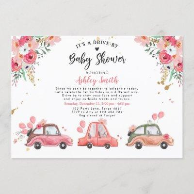 Drive By Baby Shower Pink Floral Through Virtual Invitation