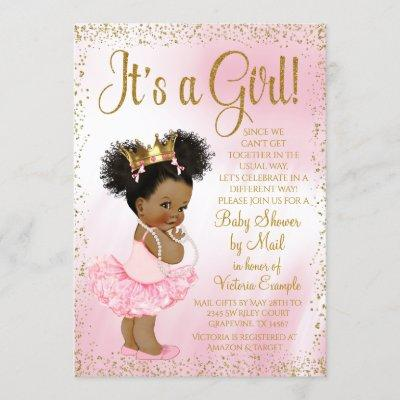 Drive By Baby Shower Pink Gold Afro Princess Tutu Invitation
