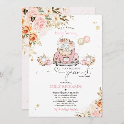 Drive By Baby Shower Pink Gold Elephant Pumpkin Invitation