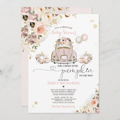 Drive By Baby Shower Pink Gold Floral Pumpkin Invitation