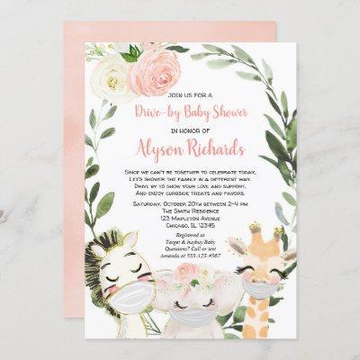 Drive-by baby shower safari animals pink greenery invitation