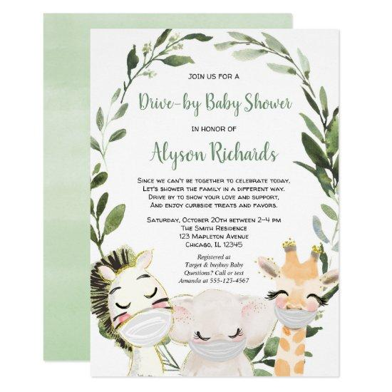 Drive-by baby shower safari animals with masks invitation