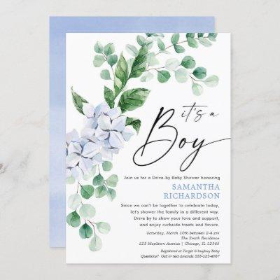 Drive by baby shower spring floral blue greenery invitation