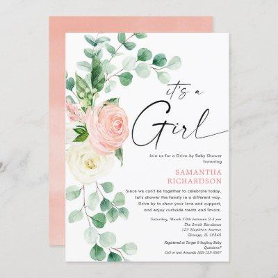 Drive by baby shower spring floral pink greenery invitation