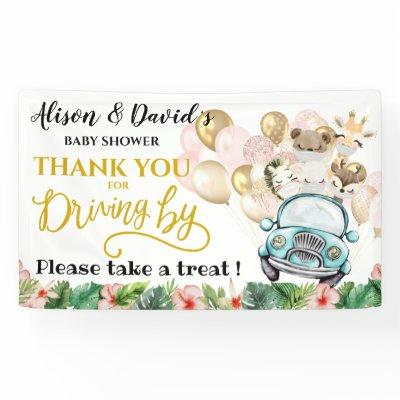 Drive By Baby Shower WELCOME BANNER   Cute Safari
