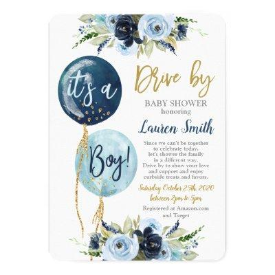 Drive by balloons baby shower boy invitation