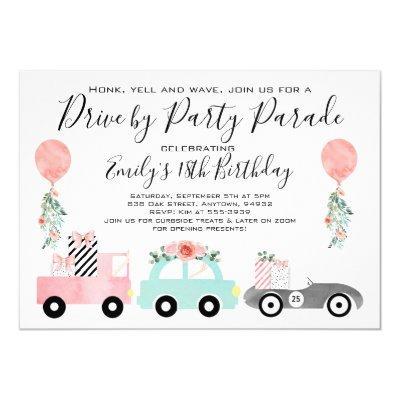 Drive by birthday party parade invitation girl