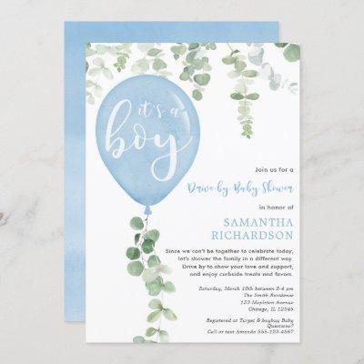 Drive-by boy baby shower blue balloon eucalyptus invitation
