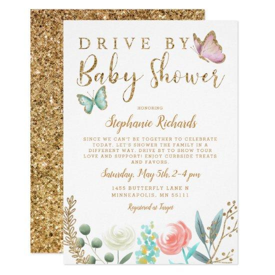 Drive By Butterfly Gold Baby Shower Invitation