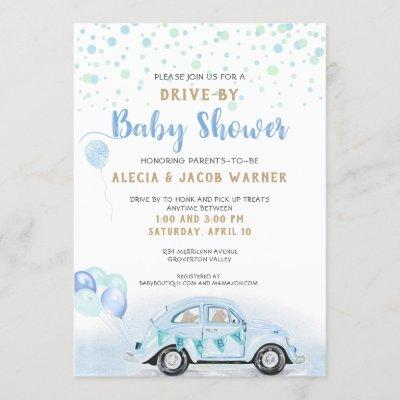 Drive By Car Boy Baby Shower Blue Green Gold Invitation