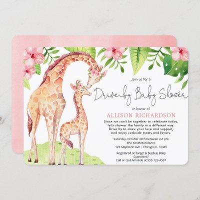 Drive by cute giraffe pink floral safari baby girl invitation