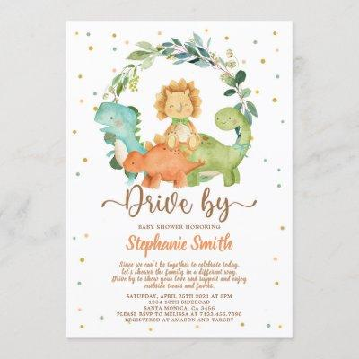 Drive By Dinosaurs Boy Baby Shower Invitation
