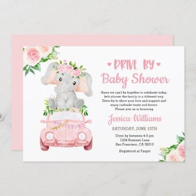 Drive By Elephant Baby Shower Girl Invitation