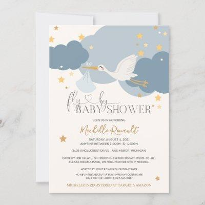 """Drive By """"Fly By"""" Stork It's A Boy Baby Shower Invitation"""