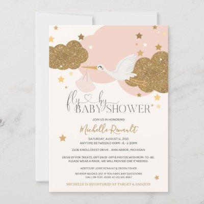 """Drive By """"Fly By"""" Stork Pink Gold Girl Baby Shower Invitation"""