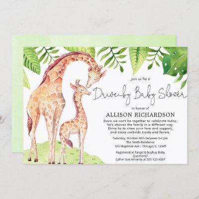 Drive by giraffe tropical greenery safari baby boy invitation