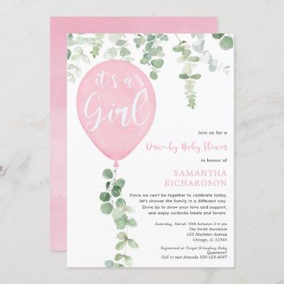Drive-by girl baby shower pink balloon eucalyptus invitation