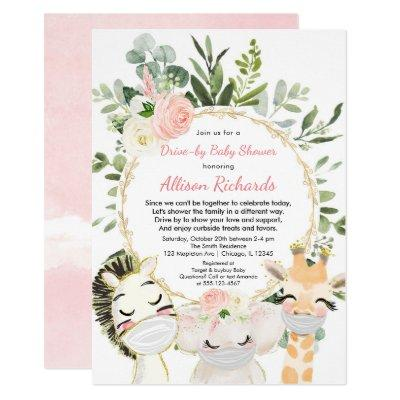 Drive-by girl baby shower pink gold cute animals invitation
