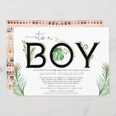 Drive-by It's a boy baby tribal jungle greenery Invitation