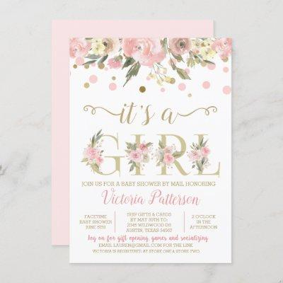 Drive By Its A Girl Watercolor Floral Baby Shower Invitation