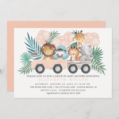 Drive By Jungle Animals Girls Baby Shower Invitation