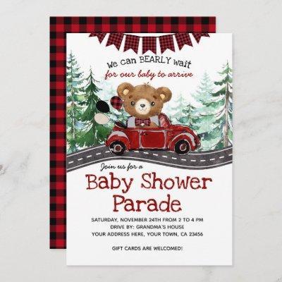 Drive By Lumberjack Bear Baby Shower Invitation