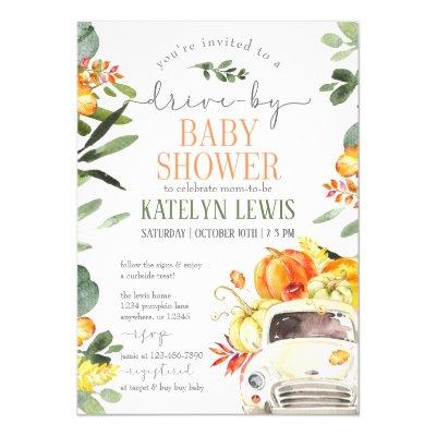 Drive By Pumpkin Baby Shower Invitation