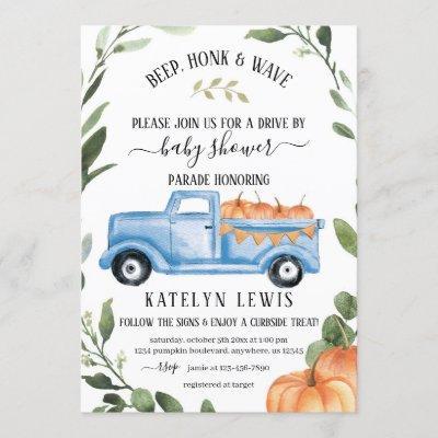 Drive By Pumpkin Boy Baby Shower Invitation