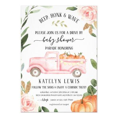 Drive By Pumpkin Girl Baby Shower Invitation