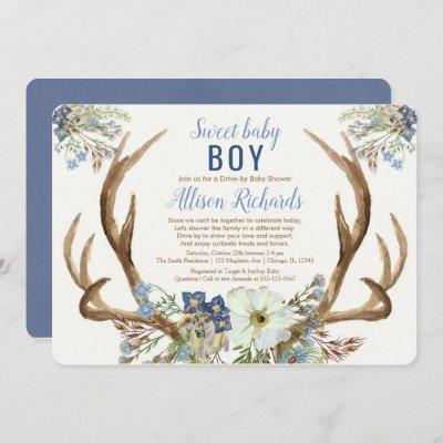 Drive-by rustic antlers blue green floral boy baby invitation