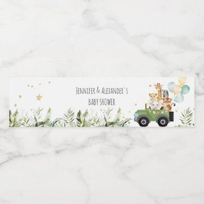 Drive-by Safari Baby Animals Baby Shower Water Bottle Label