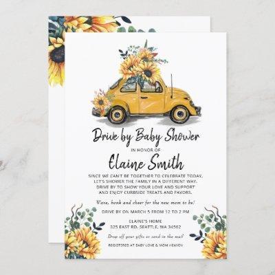 Drive By Sunflower Gender Neutral Baby Shower Invitation