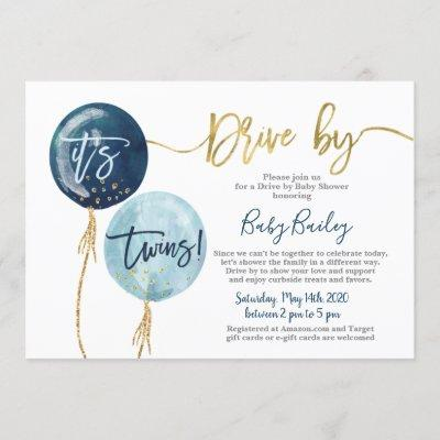 Drive by Twins Baby shower boy Invitation