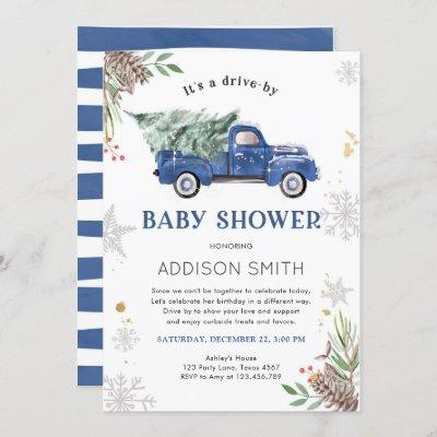 Drive By Winter Truck Baby Shower Cold Outside Invitation